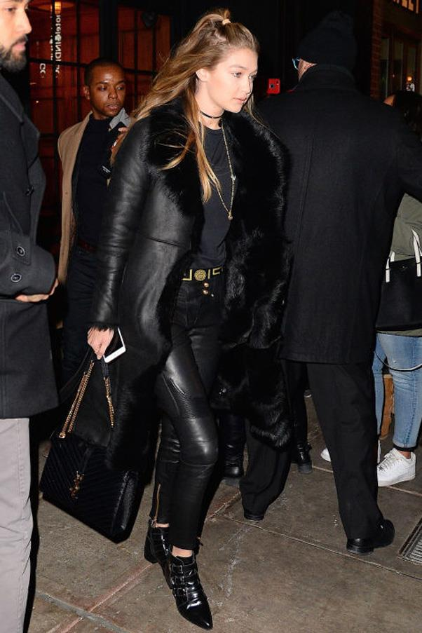 Hadid looked sleek in an all-black, leather ensemble out and about in New York City.