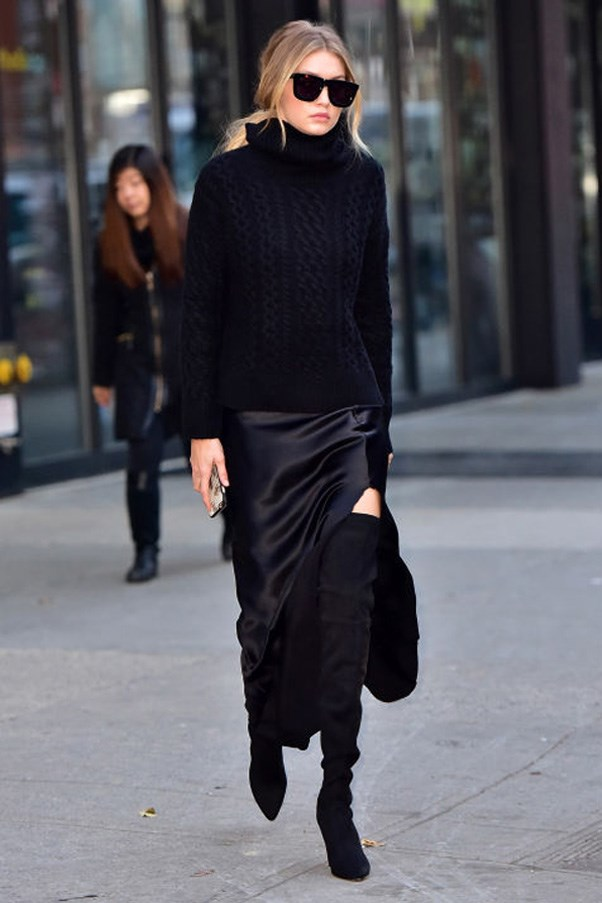 Hadid combines suede, silk and cashmere but sticks to all black. This girl knows how to dress chic.