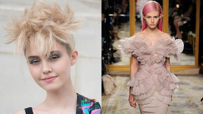 <strong>CHARLOTTE FREE</strong><BR><BR> Model Charlotte Free is a natural blonde, but it wasn't until she dyed her hair bright pink that the fashion world really took notice, including Karl Lagerfeld, who has been casting her in Chanel campaigns ever since.