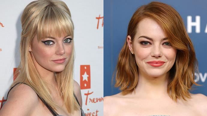"""<strong>EMMA STONE</strong><BR><BR> Shockingly, everyone's favourite redhead Emma Stone is actually a natural blonde. She dyed her hair red on Judd Apatow's request (he produced <em>Super Bad</em>, which she starred in), and stuck with it. """"I was a brunette during casting. Then Judd walked in, said 'Make it red,' and walked out,"""" she told the <em><a href=""""http://www.eastvalleytribune.com/article_9aeedb12-8c94-54f1-b507-9ff97ffb0cc3.html"""">East Valley Tribune</a></em>."""