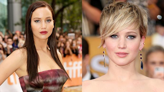 <strong>JENNIFER LAWRENCE</strong><BR><BR> When J-Law started her pre-Oscar circuit for <em>Silver Linings Playbook</em> back in 2012 she had dark chocolate locks. Post-Oscar she debuted a slick, grown-up new peroxide bob and announced her contract with Dior.