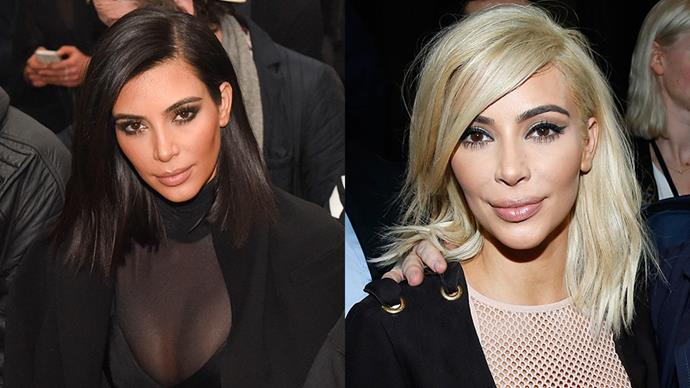 <strong>KIM KARDASHIAN</strong><BR><bR> Sure, it only lasted five minutes, but the world (and the internet) will forever remember that time Kimmy K sat front row at Balmain with peroxide blonde hair.