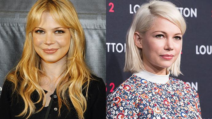<strong>MICHELLE WILLIAMS</strong><BR><BR> In 2006 Michelle Williams stopped her ever-changing stream of hairstyles (short, brown and curly, long and strawberry blonde) and settled on the chic, peroxide pixie cut she still sports today.