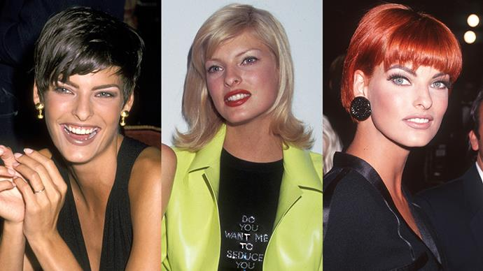 <strong>LINDA EVANGELISTA</strong><BR><BR> Basically every hairstyle Linda sported in the '90s is iconic. Short, brown and cropped? Check. Shoulder-length peroxide blonde? Check. Long, flowing and auburn? Check.