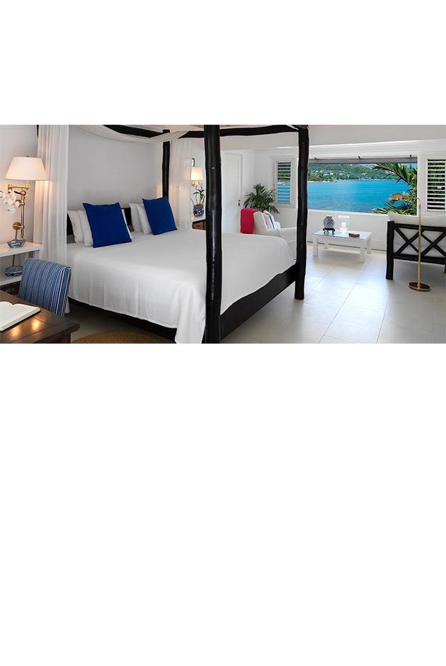 """<strong>Ralph Lauren's Round Hill Hotel and Villas, Jamaica</strong> <br><br> The Pineapple House at Jamaica's Round Hill resort comprises of 36 oceanfront guest rooms, all designed under the creative direction of Ralph Lauren. Decorated with furniture from the designer's Home Collection, the rooms feature cool white color palettes, canopy beds and louvered windows opening up to the ocean. <br><br> Round Hill Hotel and Villas, <a href=""""http://www.roundhill.com/oceanfront-rooms-en.html"""">roundhill.com</a>"""