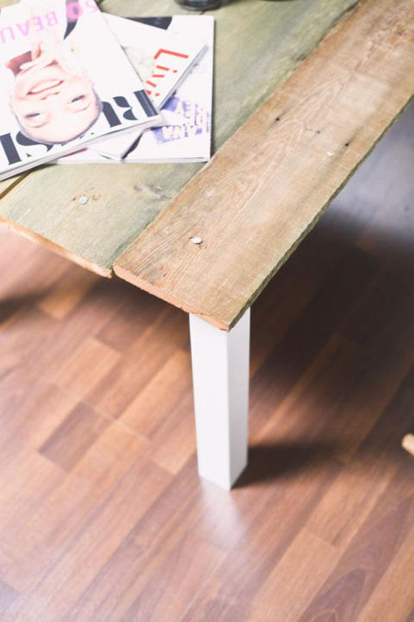 """<em><strong>Problem: Everyone's Got The Same IKEA Table</strong></em><br><br> Who can resist a great IKEA hack? Treasures & Travels's <a href=""""http://treasuresandtravelsblog.com/blog/2014/5/29/ikea-hack-lack-coffee-table"""">ingenious DIY</a> gets """"salvage yard chic"""" right with just reclaimed wood and a power tool."""