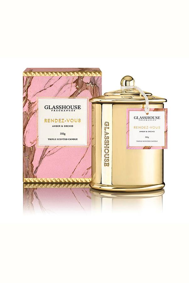 """Glasshouse 'Rendez-Vous' Amber and Orchid Candle, $42.95, available at <a href=""""http://www.myer.com.au/"""">MYER</a>"""