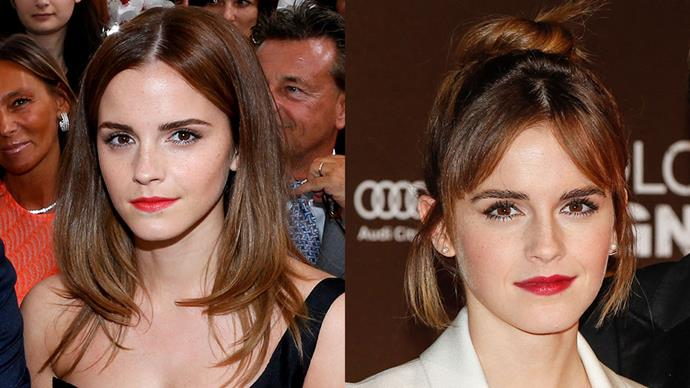 <strong>Emma Watson</strong><br><br> Emma Watson keeps it classic and elegant with her new wispy fringe.
