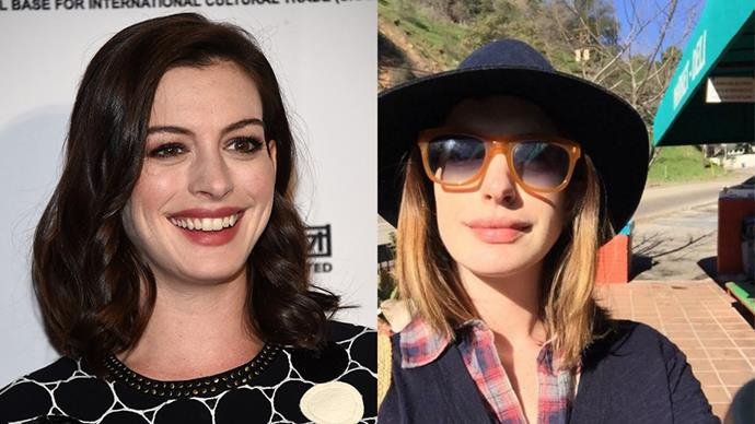 """<strong>Anne Hathaway</strong> <br><br> The brunette showed off a lighter shade on Instagram yesterday, joking that she looked like a """"fashion scarecrow."""" Well, maybe blondes do have more fun."""