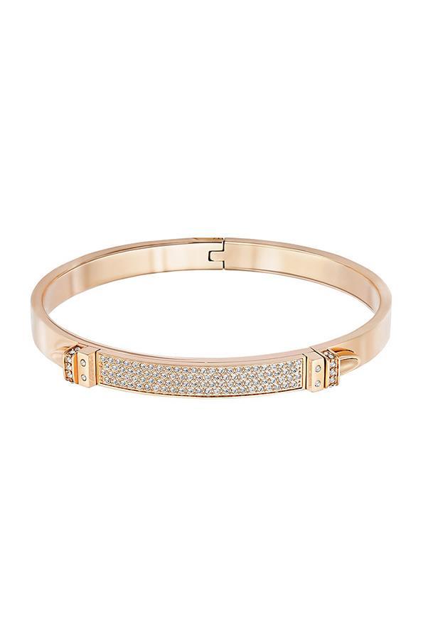 """Distinct narrow bangle in rose gold, $149, <a href=""""http://www.swarovski.com/Web_AU/en/search?search_query_keyword=5152481&x=0&y=0"""">Swarovski</a>"""