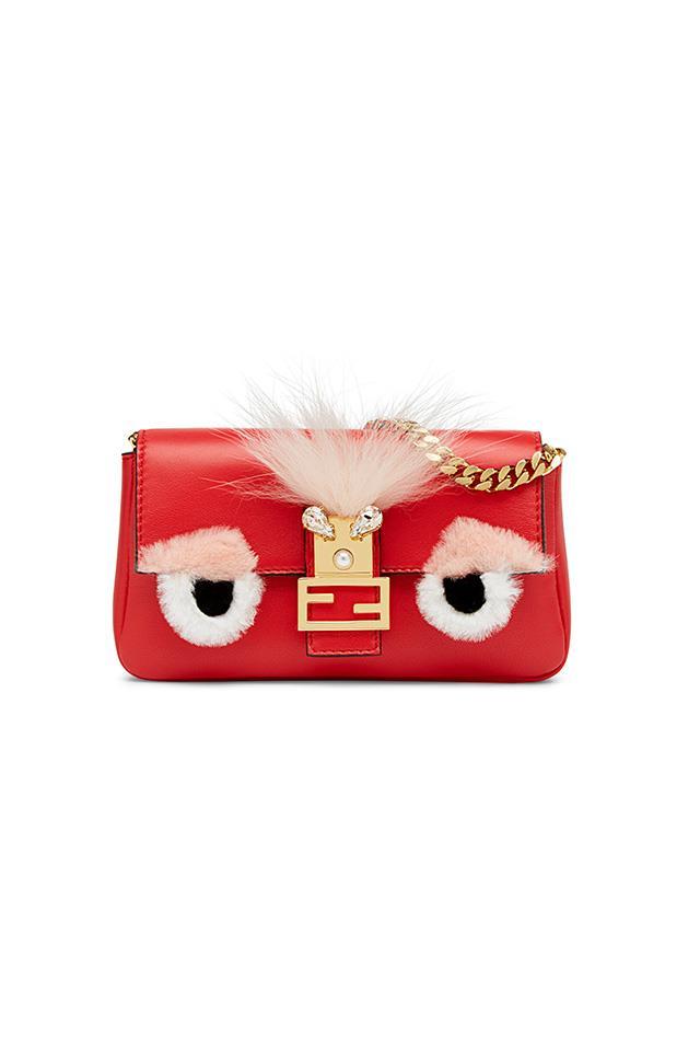 "Micro Nappa Bag Bug Baguette Bag by Fendi, $1,885, <a href=""http://www.fendi.com/ii/"">Fendi</a>"