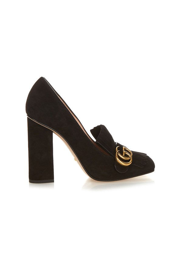 "<strong>BUY</strong> <BR><BR> Gucci 'Marmont' fringed suede block-heel pumps, $830, <a href=""http://www.matchesfashion.com/au/products/Gucci-Marmont-fringed-suede-block-heel-pumps%09-1034284#"">Matches Fashion</a>"