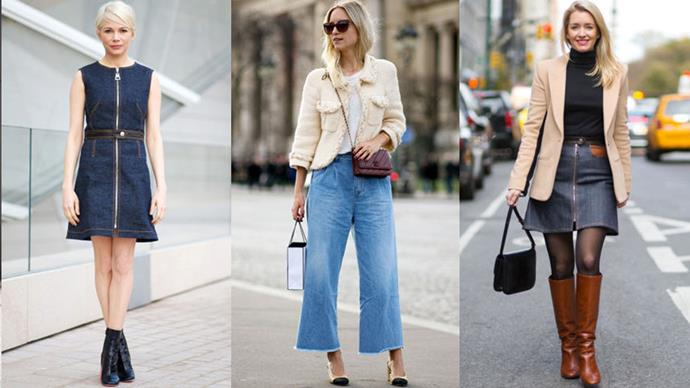 <strong>10. Discover the dressier side of denim. </strong><br><br> We all love our denim, but it can make for an easy rut when all you wear is your standard skinnies everyday. Go beyond the basics and embrace new varieties of the blue jeans, like a dress or of-the-moment A-line skirt.