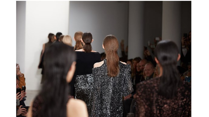 A back view of the hair look during the finale of our runway show.