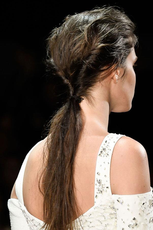 <strong>PRABAL GURUNG</strong> <br><br> The hair was twisted into a low ponytail and given plenty of texture. <br><br> Imaxtree