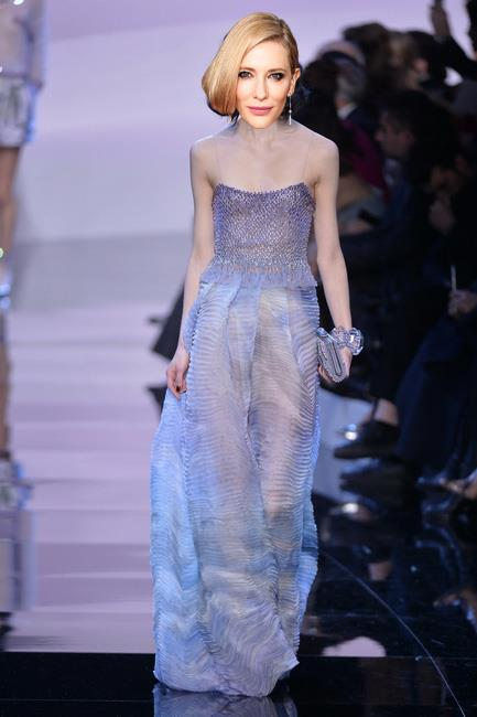 <strong>Cate Blanchett</strong><br><br> Giorgio Armani Privé haute couture S/S 16<br><br> Blanchett tends to be pretty loyal to Armani Privé when it comes her career defining red carpet moments but here's a dilemma  - Mr Armani's latest Privé collection showcased a series of gowns in lavender – a shade that is just that little bit too similar to the Givenchy creation she wore to the Globes. No matter, this look has the actor written all over it, the atelier just might have to recreate it in another shade.