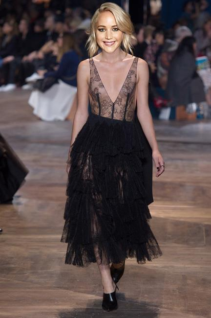 <strong>Jennifer Lawrence</strong><br><br> Christian Dior haute couture S/S 16<br><br> The <em>Joy</em> actor has worked her way through every possible Dior red carpet look imaginable so the new couture collection couldn't have debuted at a better time. This lingerie inspired black lace gown, with on-trend feminine ruffle skirt is the perfect foil to her bold Golden Globes look.