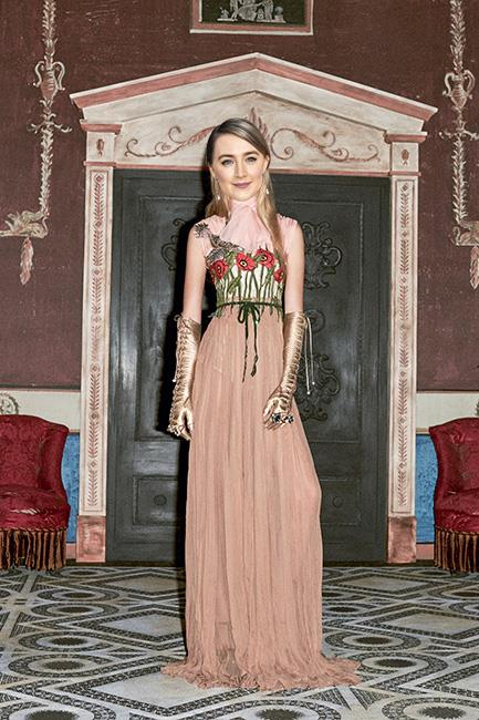<strong>Saoirse Ronan</strong><br><br> Gucci pre-fall<br><br> I'm really hoping someone opts for an Alessandro Michele for Gucci creation and Ronan's ethereal look combined with a willingness to take risks makes her the perfect candidate.