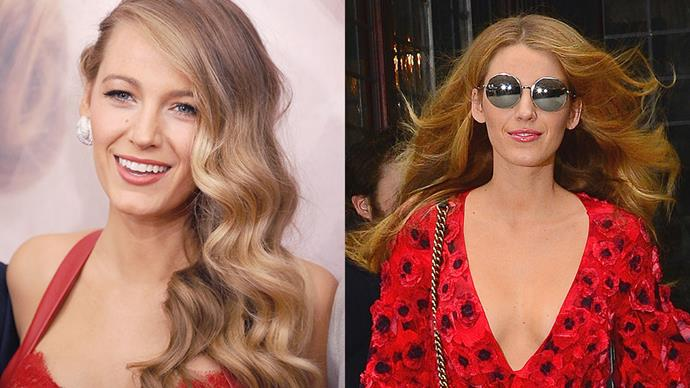 """<strong>Blake Lively</strong><br><br> The American actress stepped out in Manhattan with a new hair colour, swapping her <a href=""""http://www.harpersbazaar.com.au/beauty/the-look/2016/2/choosing-the-right-shade-of-blonde/"""">blonde tresses</a> for a fiery shade of burnt orange."""