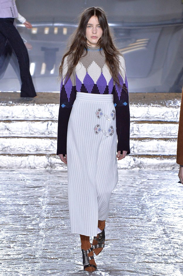 <strong>Peter Pilotto</strong> <br><br> Fall is obviously about coats for a lot of designers. But here, the story was the knits. The glorious, inventive, slightly retro yet still of-the-moment knits. Warm and cozy but not too chunky (read as: bulk-making) sweaters and layering pieces. From colourful argyles to Nordic ski turtlenecks to the colourfully patterned asymmetric dresses that ended the whole show—all so, so good. It hit that sweet spot between wearable and want-able.