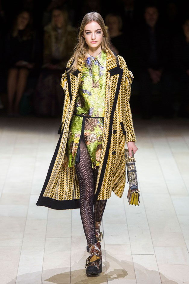 <strong>Burberry</strong> <br><br> The house debuted a new collection of bags—the Patchwork, a small buckled shoulder style that picked up on the vibrancy and melange of colors worked into the clothes.