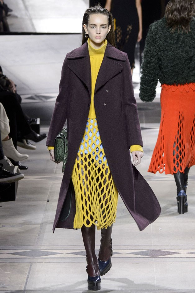 <strong>Mulberry</strong> <br><br> Netted knits in bright orangey-red and yellow were spun into dresses and skirts layered under turtlenecks and furry or smart mannish coats. The ability to go over-the-top or tailored is a good thing in this every-changing landscape.