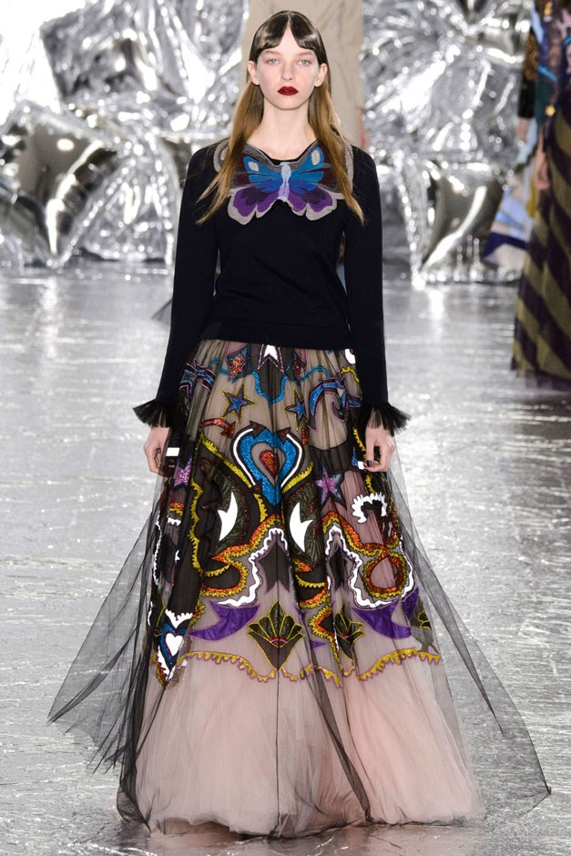 <strong>Mary Katrantzou</strong> <br><br> If only life could always be hearts and butterflies as Katrantzou literally suggested on her runway. But for those days when life feels a little ho-hum, maybe throwing on one of her butterfly sweaters will help make things seem a little brighter.