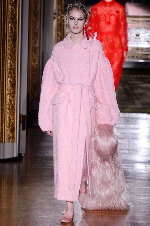 <strong>Simone Rocha</strong> <br><br> That restriction came from bow ties and a feeling of swaddling and enveloping—as seen in a standout pink coat.