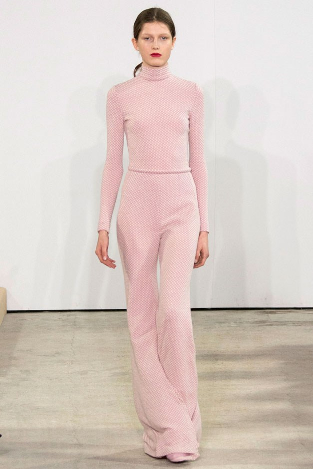 <strong>Emilia Wickstead</strong> <br><br> A blush turtleneck and matching flared trousers was young, pretty and ready for a young thing to step out in—a front row of girls like Olivia Palermo and Alexa Chung provide just a couple of options. —Kerry Pieri