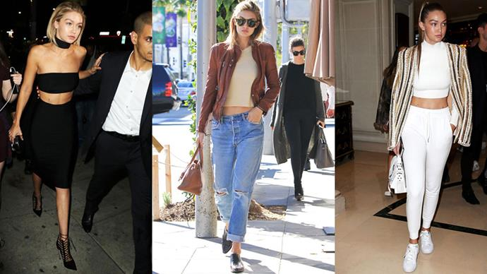 <strong>CROP IT</strong><BR><BR>Gigi Hadid has abs worth showing off—and she does so in cropped tops, whether she's post workout, in denim and leather or hitting the red carpet.