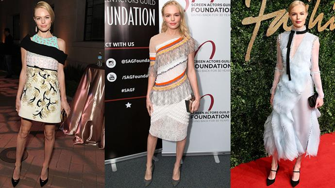 <strong>THE STATEMENT DRESS</strong><BR><BR>While Kate Bosworth's daily style trends towards luxe bohemsian, she was more likely than not to hit the red carpet in standout dresses from the runway—like a multi-print dress by Giambattsita Valli or a light blue and black dream by Erdem.