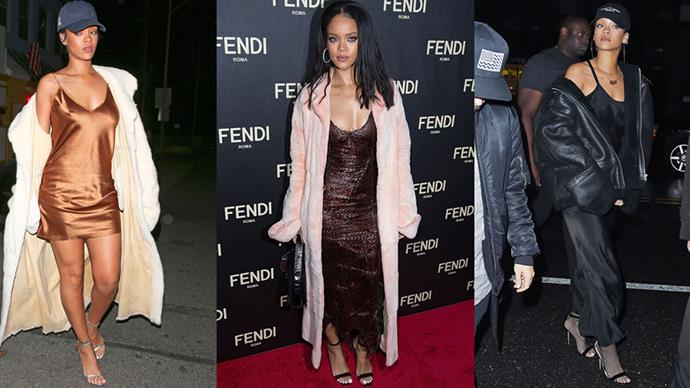 <strong>GIVE THE SLIP</strong><BR><BR>Rihanna would never be content to don a simple slip dress—instead this innovative style star mixes her slip with baseball caps, leather jackets and furs of all shapes and sizes.
