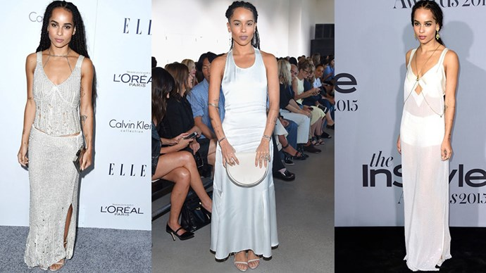 <strong>THE WHITE DRESS</strong><BR><BR>A simple, slim fitting, long white dress—punctuated by delicate jewellery—is a Zoë Kravitz staple. And one we can get behind.