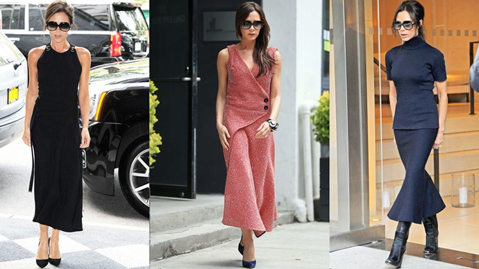 <strong>LEAN LENGTHS</strong><BR><BR>Victoria Beckham more often than not designs the sihlouette she favours most—an ankle-length structured dress or skirt. Oversized sunnies come in a close second.