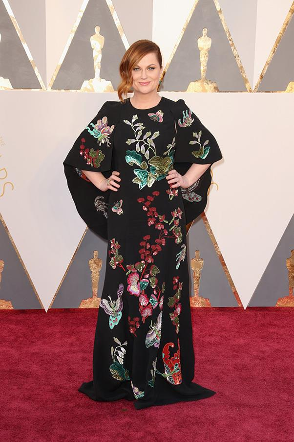 """<strong>Amy Poehler:</strong> <br><br> """"Amy looks better as a blonde. And this gown does nothing for her. Its just a bit meh."""" - Pete Harrison, group commercial category manager. <br><br> """"Why is my (imaginary) BFF wearing such a strange, unflattering sack? I'll have to have words with her. Or with her stylist."""" - Alison Izzo, digital editor"""