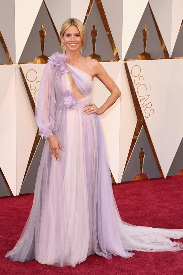 """<strong>Heidi Klum:</strong> <br><br> """"Heidi Klum = perfection. In this revealing soft mauve Marchesa? Double perfection. (insert emoji tick here)"""" - Pete Harrison, group commercial category manager."""