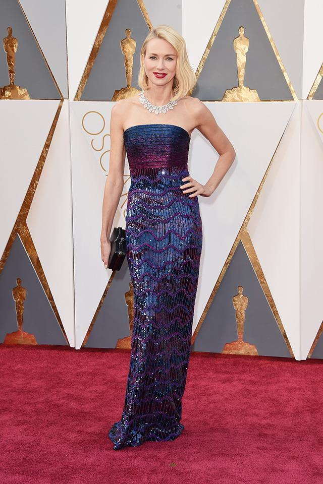 """<strong>Naomi Watts:</strong> <br><BR> """"So shiny. So good."""" - Jessica Matthews, deputy chief sub editor <BR><BR> """"I'm not usually a fan of this many sequins but Naomi Watts looks incredible in this simple, elegant strapless Armani number. Pulled together with her chic platinum lob and those truly impressive jewels, this is one of my favourite looks of the night."""" - Grace O'Neill, digital content manager <br><br> """"Naomi Watts seems to be reversing the clock on the daily and looks pretty damn fresh in Armani Privé. Its got a metallic mermaid feel but I'm digging it!"""" - Pete Harrison, group commercial category manager.<br><br> """"NASA should time-capsule this image so alien life-forms who know nothing of Earth or our way of life will understand immediately what a movie star is."""" - Tom Lazarus, chief subeditor"""
