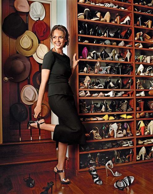 <strong>Jessica Alba</strong> <br><br> A shoe collection to die for.