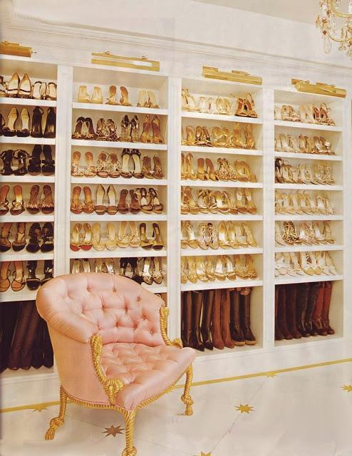 <strong>Mariah Carey</strong> <br><br> Taking wardrobe extravagance to a new level, Mariah Carey has revealed that of her 1000 pairs of shoes, 24 shelves of them are gold.