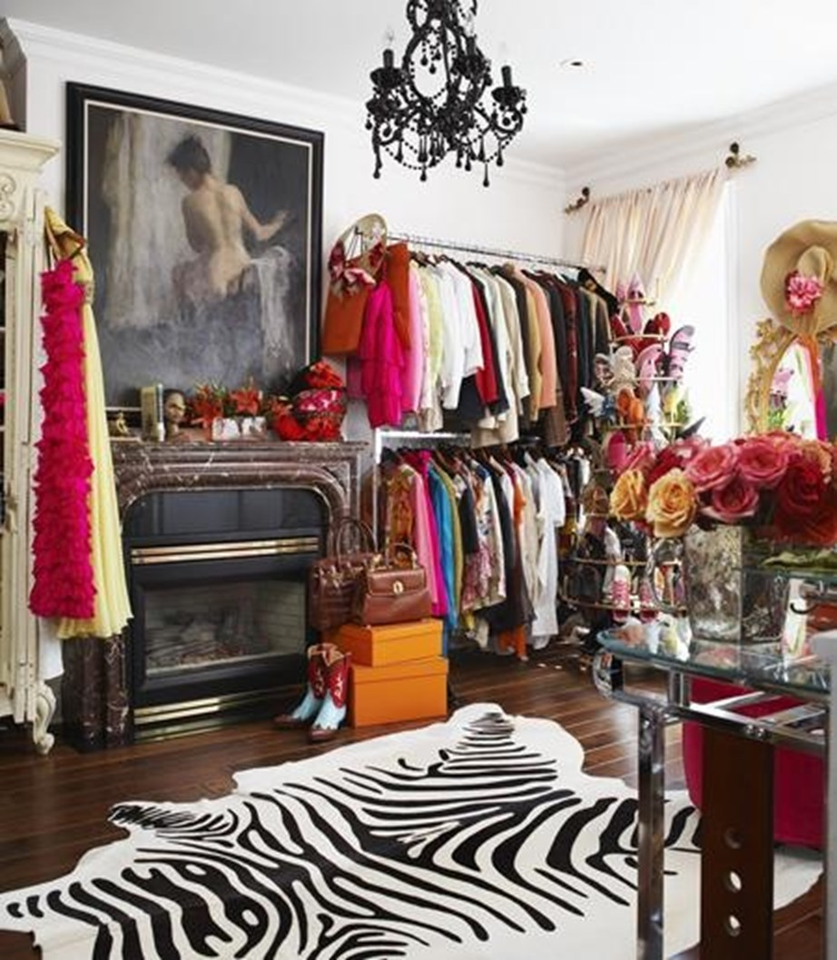 A black chandelier and flowers galore are the highlights of Olivia Palermo's wardrobe (not to mention all those clothes).