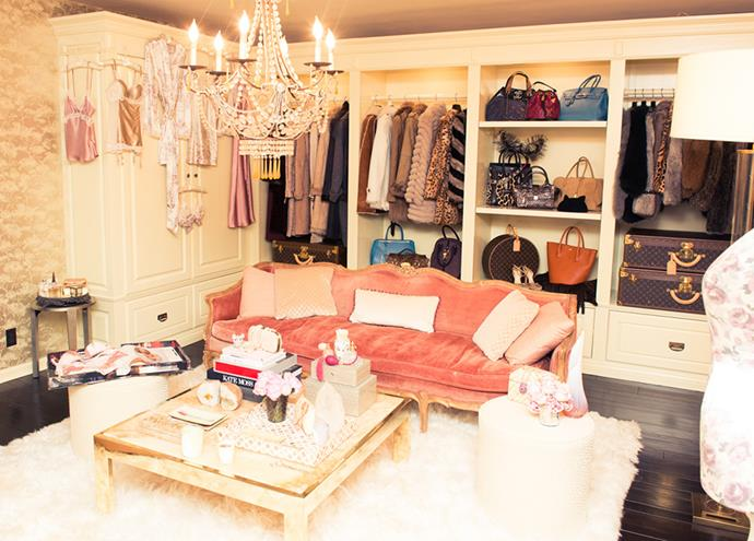 """<strong>Rosie Huntington-Whiteley</strong> <br><br> Chandelier? Check. Louis Vuitton luggage? Check. Pink and gold lounge? Check. Rosie Huntington-Whiteley, you've done well. <br><br> <em><a href=""""http://www.thecoveteur.com/2014/02/11/rosie-huntington-whiteley-model-style/"""">The Coveteur</a></em>"""