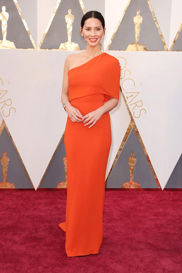 """<strong>Olivia Munn: </strong><br><br> """"That colour is a risk but with her colouring and the way Stella McCartney does her fits, it works – my favourite from the night."""" - Hannah McLennan, editorial coordinator/bookings editor <br><br> """"Simple yet striking. Full points to Olivia Munn for not going down the well-trod embellished/bejewelled route."""" - Alison Izzo, digital editor<br><br> """"Coral brought back from sale-rack purgatory, and a clean, futuristic asymmetric shape. That, with the one cuff: fresh."""" - Tom Lazarus, chief sub editor"""