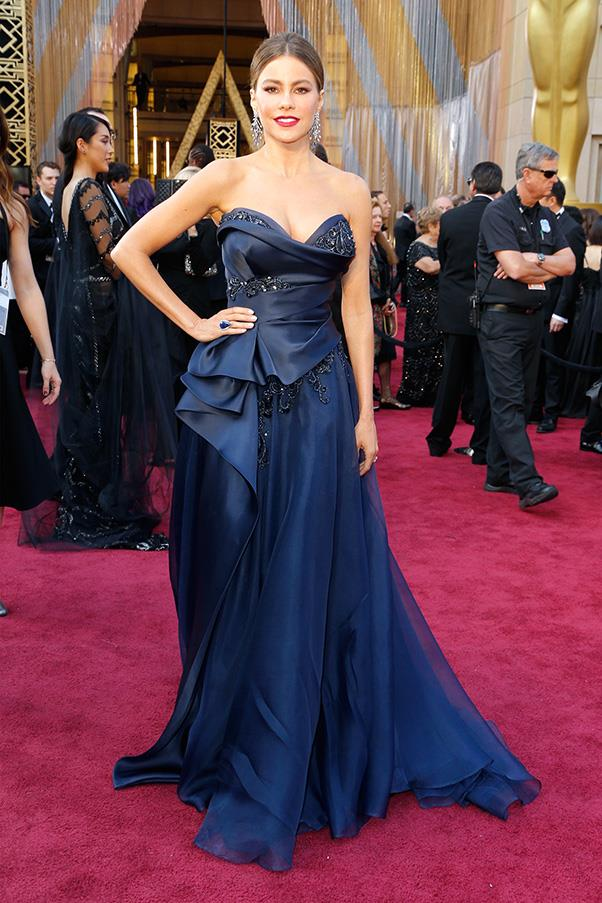 """<strong>Sofia Vergara:</strong> <br><br> """"I'm sorry Marchesa, but this looks worthy of a discount bin at a high-school formal dress outlet somewhere far, far away from the Oscars red carpet."""" - Anna Lavdaras, beauty writer"""