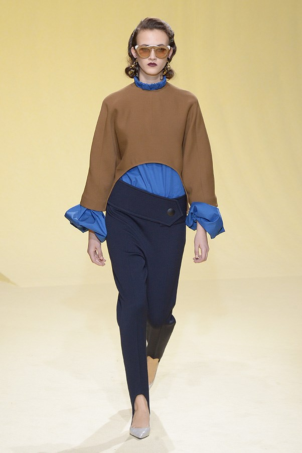 <strong>MARNI</strong> <BR><BR> Few designers have the courage to bring back a silhouette so universally feared as the stirrup pant and then pair it with a curvilinear capelet (also a new spin on a silhouette). But Marni's Conseulo Castiglione has no fear. She also made this loathed pant of the '80s fit nicely into the sporty-luxe agenda she pushed for fall.