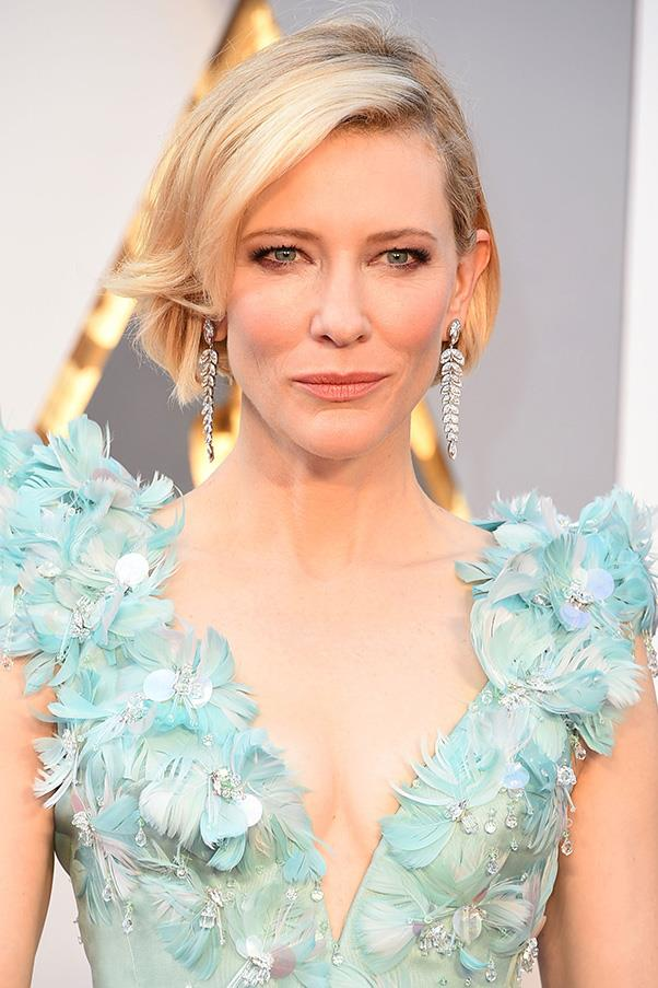 "<strong>CATE BLANCHETT</strong><BR><BR> ""Cate Blanchett is an Oscars veteran and knows how to make a statement on the red carpet. This year she has made a brave move and debuted a new haircut on Oscars day. Cate's Armani Prive dress is making the statement here so her new jaw-length bob has been styled very old-Hollywood glamour with one side sleek and tucked behind her ear. <BR><bR> ""To achieve Cate's look, apply Shu Uemura Art of Hair Ample Angora ( $47) to damp hair and blow dry smooth, and finish with Shu Uemura Art of Hair Detail Master ($46) for shine and to give the tucked-back side a sleek finish."" - Clayton Wheller for Shu Uemura Art of Hair from The Murphy Gozzard Hair Community <BR><BR> <em>All products are available exclusively in Shu Uemura Art of Hair consultant salons nationwide. To locate your nearest salon phone 1300 760 550.</em>"