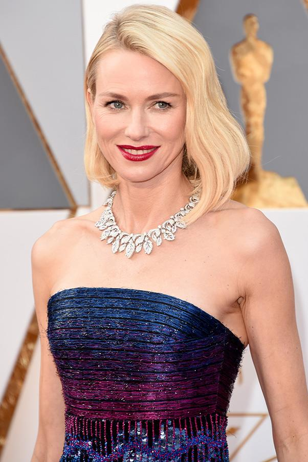 "<strong>NAOMI WATTS</strong><BR><BR> ""Like Cate, Naomi Watts chose to make a statement in her beautiful Armani Privé dress and let her dress do the talking with understated hair. Naomi's lob has been styled with a more modern look than Cate's, although still with one side tucked behind her ear. <BR><BR> ""To achieve this look, I would prep damp hair with Shu Uemura Art of Hair Satin Design ($45) and blow-dry smooth and voluminous. Then, create deep waves with a waving wand to accentuate the cheekbones. Finish by working Shu Uemura Art of Hair Volume Maker ($47) through the hair for texture and Shu Uemura Art of Hair Sheer Lacquer ($45)."" - Clayton Wheller for Shu Uemura Art of Hair from The Murphy Gozzard Hair Community <br><br> <em>All products are available exclusively in Shu Uemura Art of Hair consultant salons nationwide. To locate your nearest salon phone 1300 760 550.</em>"
