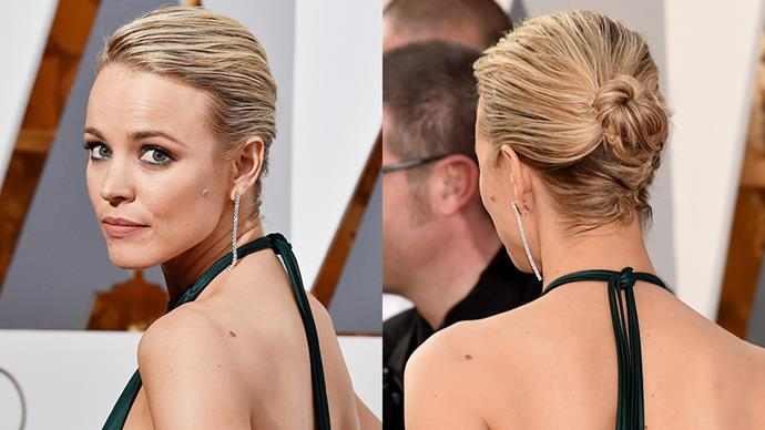 "<strong>RACHEL MCADAMS</strong><BR><BR> ""Rachel McAdams is wearing a beautiful emerald green gown from up-and-coming LA designer August Getty that perfectly matches her emerald green eyes. By wearing her hair up and swept away from her face, it makes the colour of her eyes and the gown pop. <BR><BR> ""To achieve this look, blow dry hair with a blend of Shu Uemura Art of Hair Straight Forward ($45) and a drop of Shu Uemura Art of Hair Essense Absolu ($68). Once dry, add a small amount of Shu Uemura Art of Hair Cotton Uzu ($47) and pull the hair up and secure in a low bun. Finish with Shu Uemura Art of Hair Detail Master ($46) for hold and shine."" - Clayton Wheller for Shu Uemura Art of Hair from The Murphy Gozzard Hair Community <br><br> <em>All products are available exclusively in Shu Uemura Art of Hair consultant salons nationwide. To locate your nearest salon phone 1300 760 550.</em>"