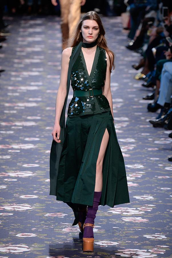 <strong>ROCHAS</strong><BR><BR> The news here was delivered in sequins and velvet. And it was most powerfully given in a rich deep green which Dell'Acqua played against purple, lavender, peach, red, turquoise, pink and any number of other colors that were both perfect matches and slightly off in a good way.