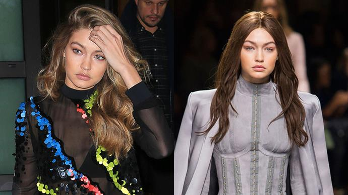 <strong>Gigi Hadid</strong><br><br> Gigi Hadid went to the dark side courtesy of a brunette wig for the Balmain Autumn Winter '16 Paris fashion week show.