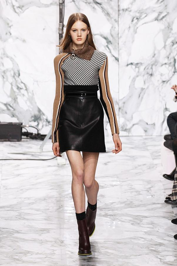 <strong>CARVEN</strong><BR><BR> Moto and shearling are definitely having a moment. And at Carven, designers Adrien Caillaudaud and Alexis Martial smartly inflected touches of the sherpa and motocross rider into what was, essentially, a modern girl's wardrobe.